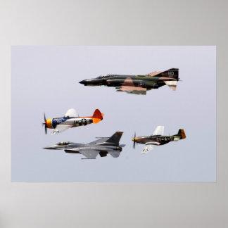 F-4 Phantom, P-47 Thunderbolt, F-16 Fighting Falco Poster