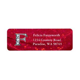 """F """"Diamond"""" Bling Monogram Return Address Label"""