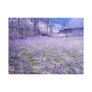 Fabric country cottage garden flowered, Simple Canvas Print