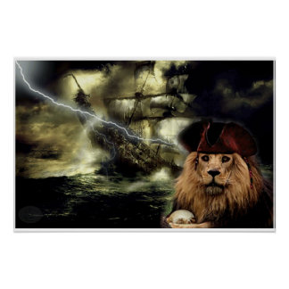 Fabric lion and pirate boat poster