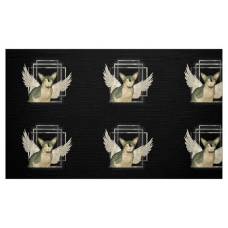 Fabric | Sphynx Cat Ninja with Angel Wings | Black