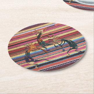 Fabric Stripes Pattern colored I + KOKOPELLI Round Paper Coaster
