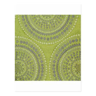 Fabric Texture Green Circle Grey Vintage Cool Patt Postcard