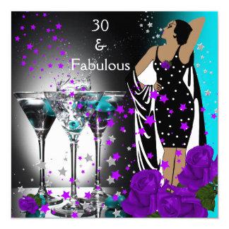 Fabulous 30 30th Birthday Teal Purple Roses Card