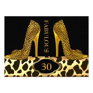 Fabulous 30 Leopard Gold Cheetah High Heels Party Custom Invite