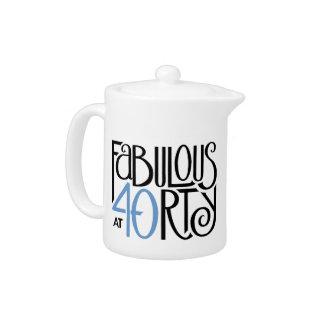 Fabulous 40 black blue Teapot Small