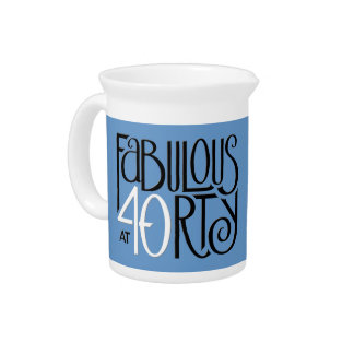 Fabulous 40 black white blue Pitcher