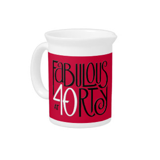 Fabulous 40 black white red Pitcher
