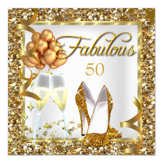 Fabulous 50 Champagne Gold Birthday Party Invite