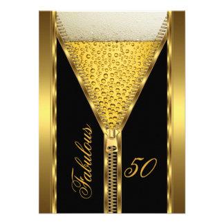 Fabulous 50 Elegant Zipper Gold Beer Drink 2 Personalized Invite