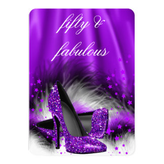 Fabulous 50 Purple Stars High Heels Birthday Party 4.5x6.25 Paper Invitation Card
