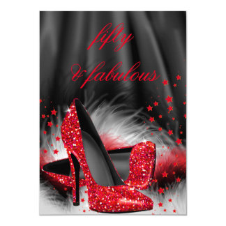 Fabulous 50 Red High Heels Black Silk Birthday 4.5x6.25 Paper Invitation Card