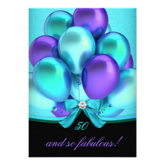 Fabulous 50 Teal Purple Black Balloons Party Custom Invitations