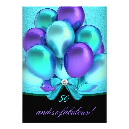 Fabulous 50 Teal Purple Black Balloons Party Custom Invitations
