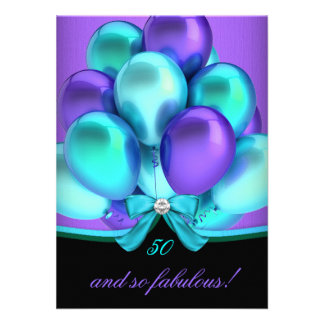 Fabulous 50 Teal Purple Black Birthday Party 2 Invitations