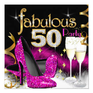Fabulous 50th Party Glitter Hot Pink Champagne 13 Cm X 13 Cm Square Invitation Card