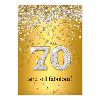 Fabulous 70 Gold Silver Streamers 70th Birthday 13 Cm X 18 Cm Invitation Card