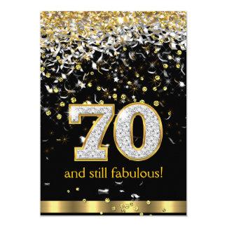 Fabulous 70 Gold Silver Streamers 70th Birthday B 13 Cm X 18 Cm Invitation Card