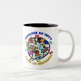 Fabulous At 50th Birthday Gifts Two-Tone Coffee Mug