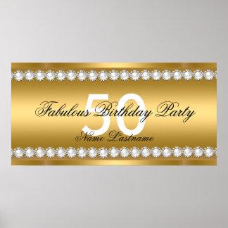 Fabulous Elegant Gold Pearl Jewel Birthday Banner Poster