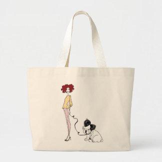 Fabulous Fashion Girl with Chic Bull Dog Bag