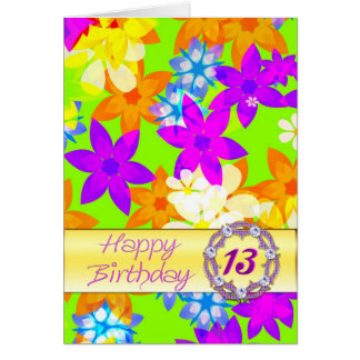 Fabulous flowers 13th birthday card