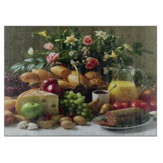 FABULOUS FOOD FEAST GLASS CUTTING BOARD 15x11