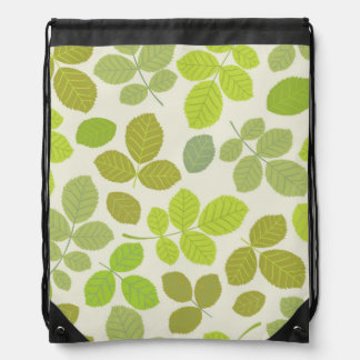 Fabulous Green Leaves Pattern Drawstring Bag