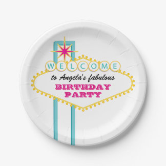 Fabulous Las Vegas Sign Pink Party Paper Plate