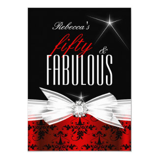 Fabulous Red Black Damask 50th Birthday Party 11 Cm X 16 Cm Invitation Card