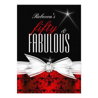 Fabulous Red Black Damask 50th Birthday Party Custom Invitations