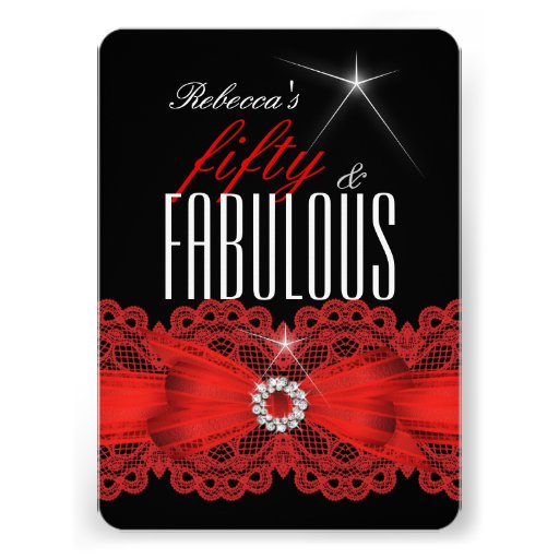 Fabulous Red Lace Black 50th Birthday Party 4 Personalized Invites