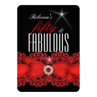 """Fabulous Red Lace Black 50th Birthday Party 4 4.5"""" X 6.25"""" Invitation Card"""