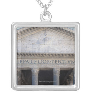 Facade of the Pantheon in Rome, Italy. Silver Plated Necklace