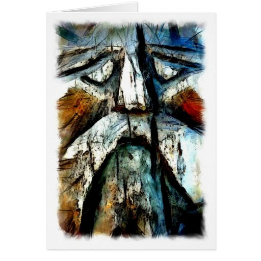 Face carved in wood, Carmel, California Greeting Card