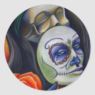 Face off round sticker