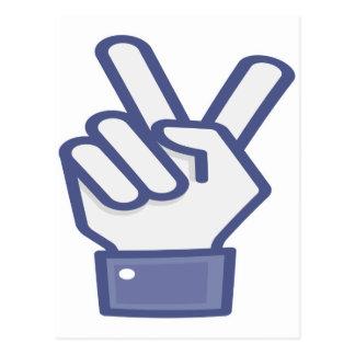 Facebook like peace sign postcard