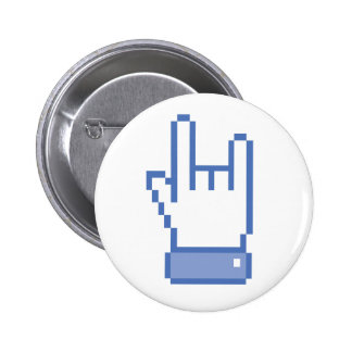 facebook like ROCK peace hand sign pixel graphic 6 Cm Round Badge