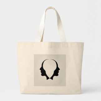 Faces of man in opposite direction jumbo tote bag
