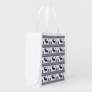 Fair Isle Christmas Sweater Pattern Reusable Grocery Bag