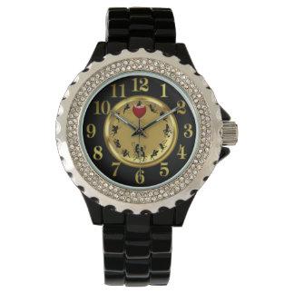 Fairies Women's Rhinestone Black Enamel Watch