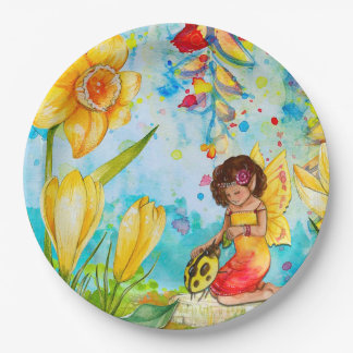 Fairy and Yellow Ladybug Birthday Party Plates 9 Inch Paper Plate
