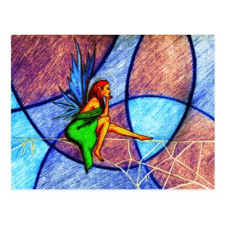 Fairy on a spider web postcard