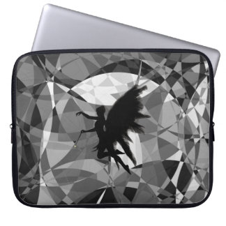 Fairy silhouette on abstract background laptop sleeve