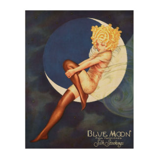 Fairy Sitting On Blue Moon Vintage Fine Art