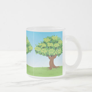 FAIRYTALE CARTOON SUMMER TREE LEAVES HILL GREEN VE FROSTED GLASS COFFEE MUG
