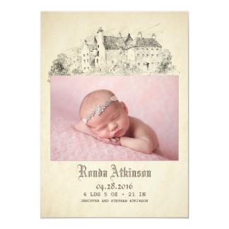 Fairytale Castle Princess Newborn Baby Photo Birth Card