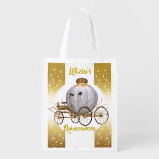 Fairytale Princess Carriage Quinceañera 15 años Reusable Grocery Bag
