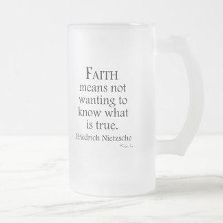Faith Defined By Nietzsche Frosted Glass Mug