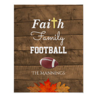 Faith Family Football Personalised Rustic Sign